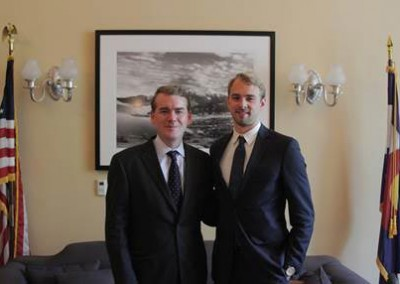 United States Senator Michael Bennet with 2014 Fellow Leif Brierly