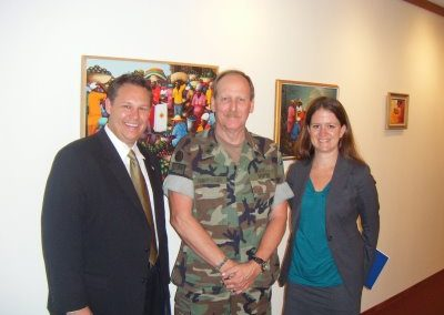 2008 Fellows Andrew Roszak and Kelly Whitener with Rear Admiral W. Craig Vanderwagen USPHS